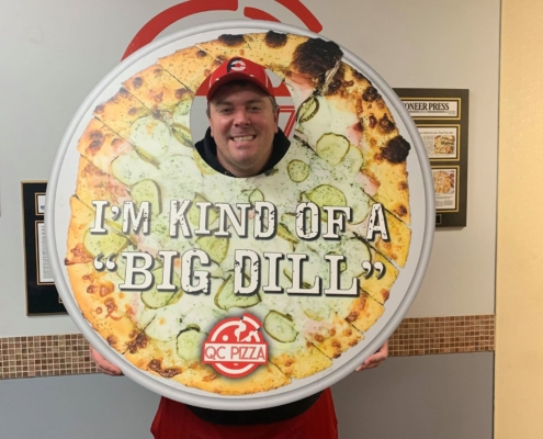 Randy Santel at QC Pizza Mahtomedi MN. taking the Kinda Big Dill Challenge Dec. 2019