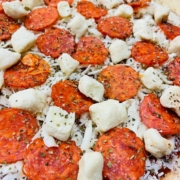 Curd-a-Roni Cup Pepperoni Pizza - Before baking - QC Pizza Mahtomedi MN.