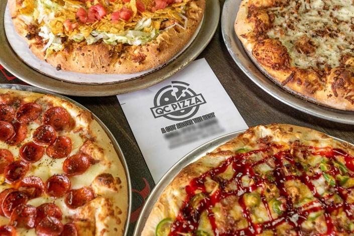 QC Pizza - Jalapeno Popper, Curd-a-Roni Cupped Pepperoni, QC Taco, Kinda Big dill Pickle Pizza