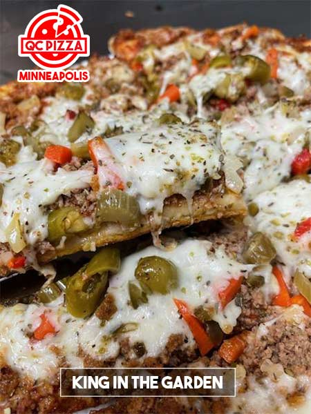 QC Pizza - Minneapolis MN. (612)259-7132 - King in The Garden Pizza